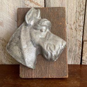 Vintage Aluminum Cast Terrier Head Wall Plaque